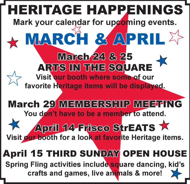 Heritage Happenings March April 2018