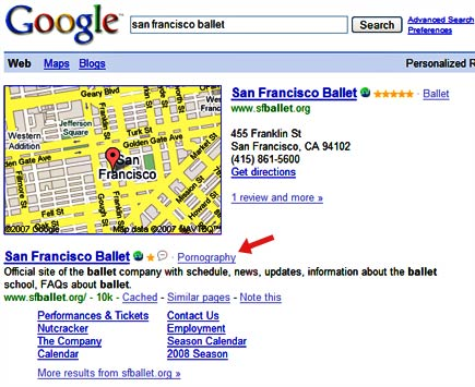 google says san francisco ballet is pornography