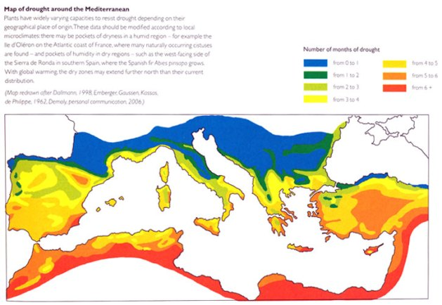 Mediterranean drought map, from Olivier Filippi, The Dry Gardening Handbook