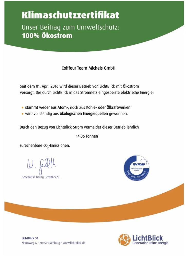Friseur Bonn - Marcel Michels - Klimaschutz - Klimaschutzzertifikat