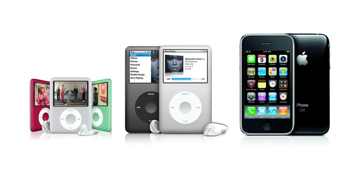 Apple iPod nano, Apple iPod classic, Apple iPhone 3G
