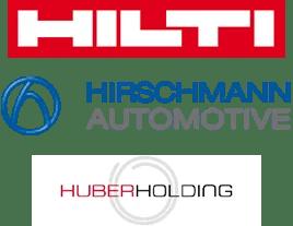 Logo Hilti, Hirschmann, Huber