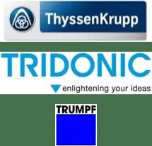 Logo ThyssenKrupp Presta, Tridonic, Trumpf