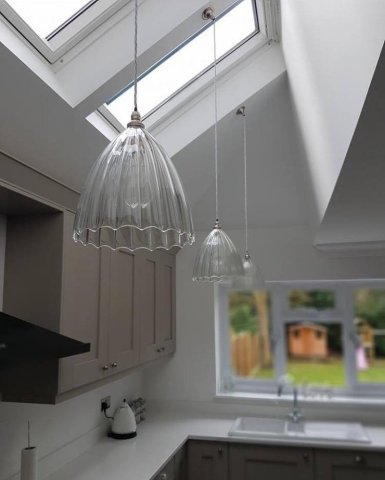 How Do I Install Pendant Lights on a Sloping Ceiling    Fritz Fryer Ribbed Ledbury Shades on Sloping Ceiling