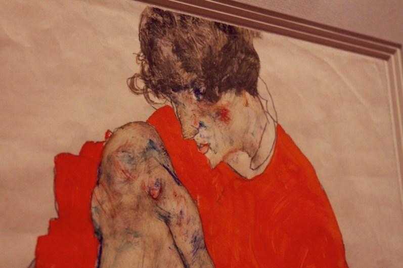"""Egon Schiele - """"Blondes Aktmodel auf braunem Tuch sitzend"""" - 1912"""