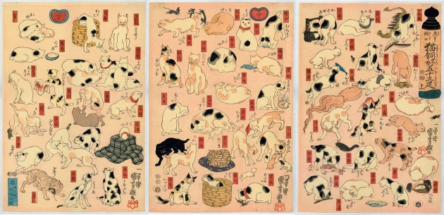 """Utagawa Kuniyoshi (1797-1861), """"Cats suggested by the fifty-three stations of the Tōkaidō"""", 1847, color woodblock print"""