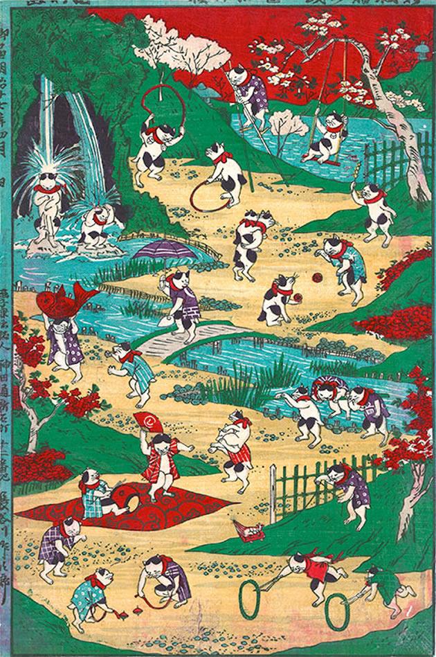 "Utagawa Kunitoshi (1847-1899), ""Newly published cat's games"", 1844, color woodblock print"