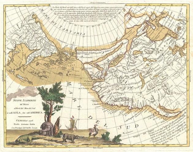 """Antonio Zatta, """"Nuove Scoperte De'Russi al Nord del Mare del Sud si nell'Asia, che nell'America"""", (una mappa del 1776 del cartografo veneziano Zatta che illustra il cosiddetto passaggio a Nord-Ovest)"""
