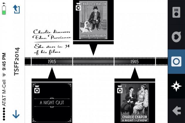la timeline dell'account instagram del festival nel 2014: bisognava girare il telefono di 90° e poi scorrere orizzontalmente per vedere informazioni e filmati su Chaplin, a cui il festival aveva dedicato un omaggio