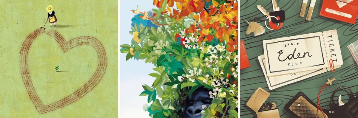 """Tre illustrazioni tratte dal """"Calendario Duemila14"""" di Tapirulan gli autori delle illustrazioni sono, da sinistra: Alberto Ruggieri, Paolo D'Altan, Karolis Strautniekas"""