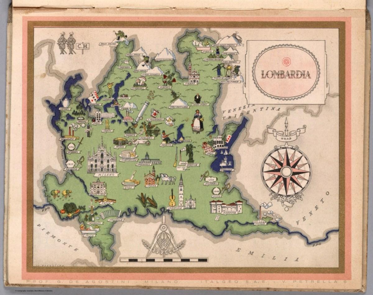 "Italia Viva (tavola relativa alla Lombardia), 1941 autore: Giovanni De Agostini editore: Societa Anonima Editrice ""Italgeo"" (Italia)"
