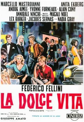 """""""La dolce vita"""" di Federico Fellini, 1960 artwork: Sandro Symeoni (fonte: facebook.com/SandroSymeoni)"""