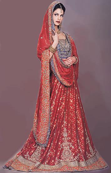 Modern Indian lehenga skirt with choli top and dupatta scarf.