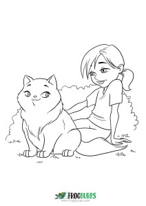 A Cat is a Girl's Best Friend | Coloring Page