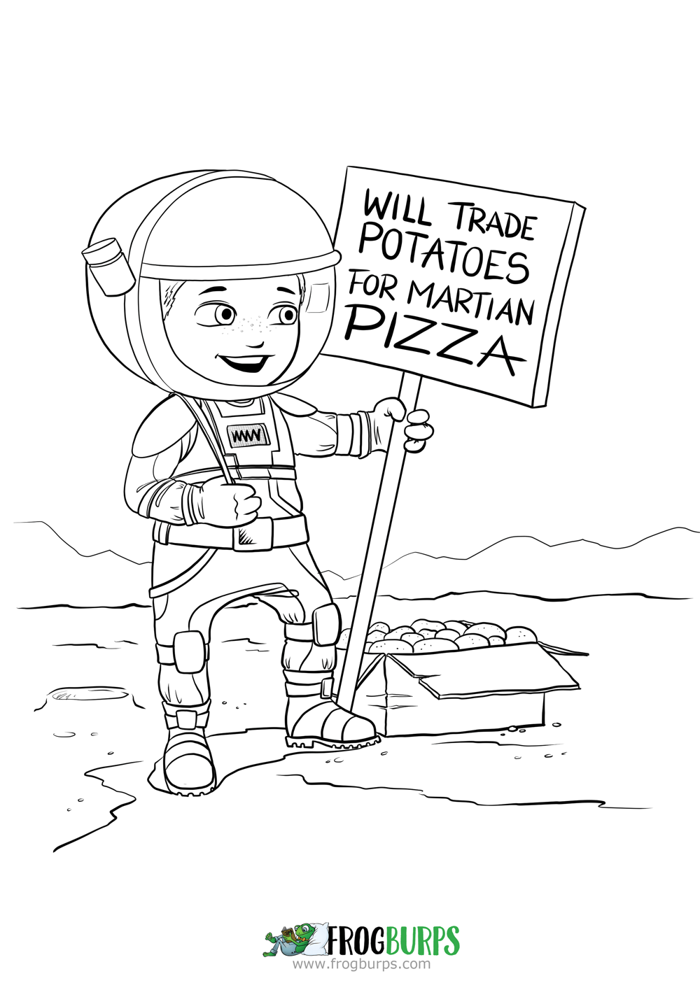 Martian Pizza | Coloring Page