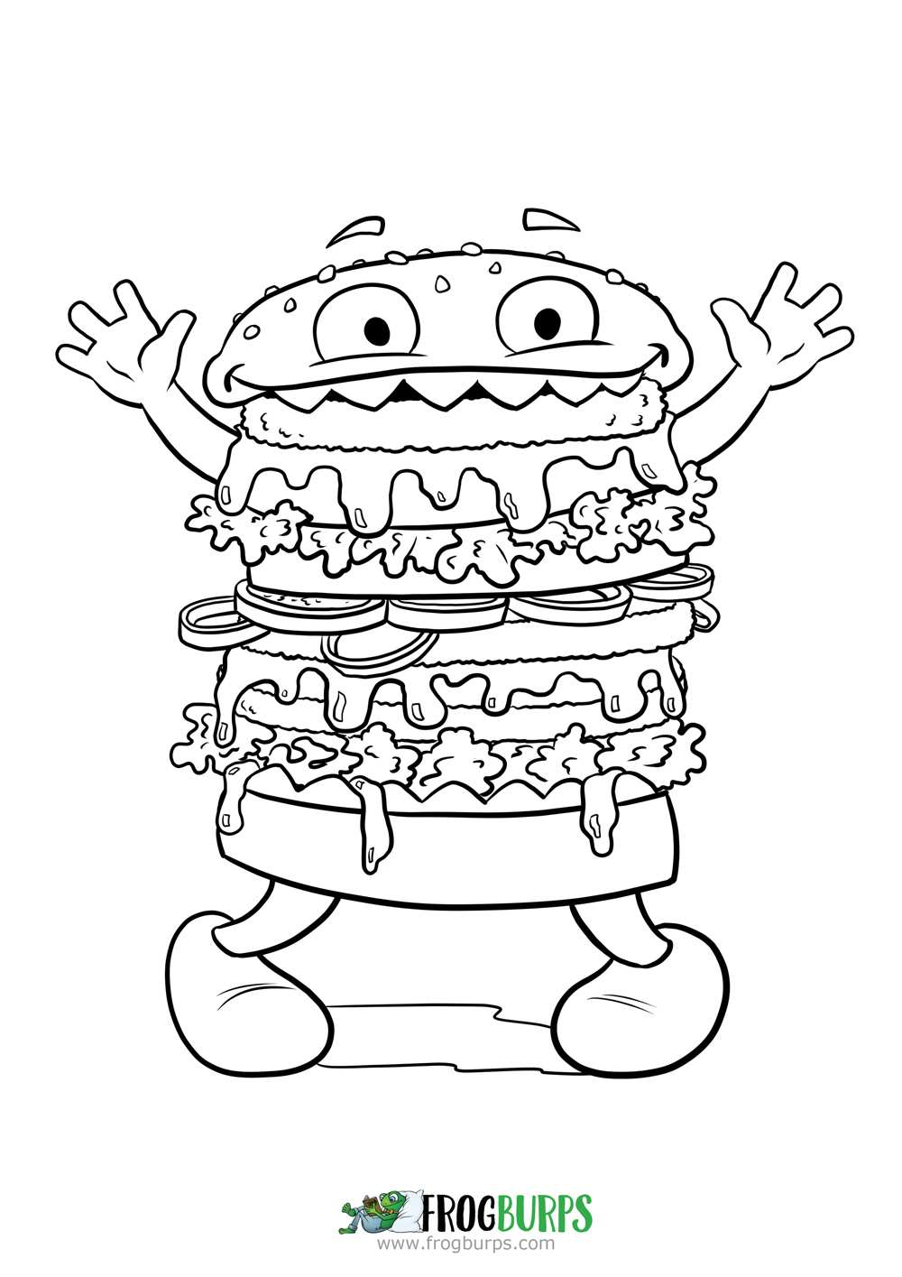 Silly Burger Monster | Coloring Page