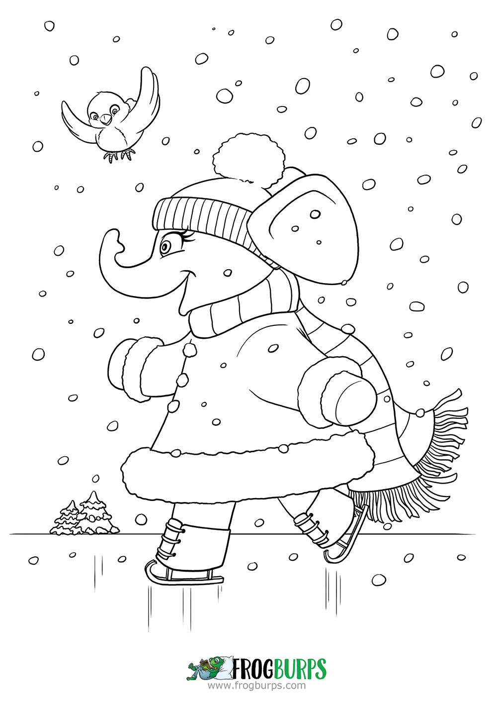 Ice Skating Elephant | Coloring Page