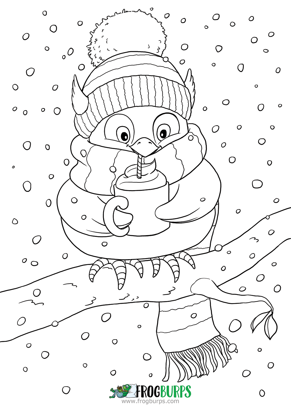 Owl with scarf | Coloring Page
