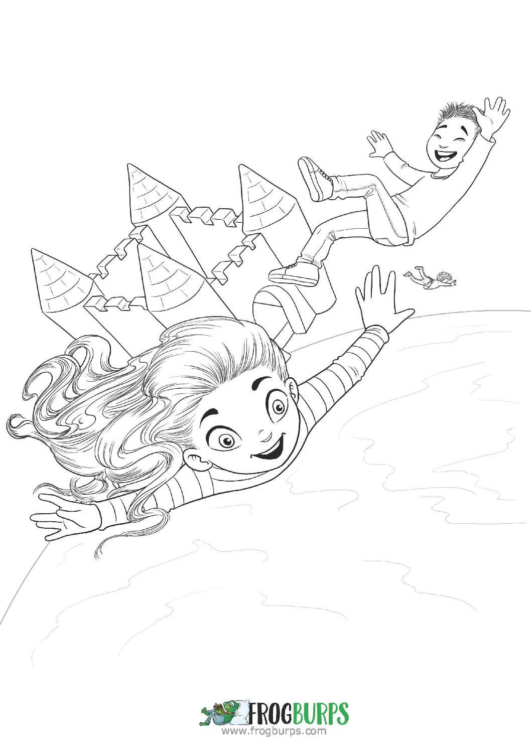 Bouncy Castle Trampoline Coloring Page Frogburps