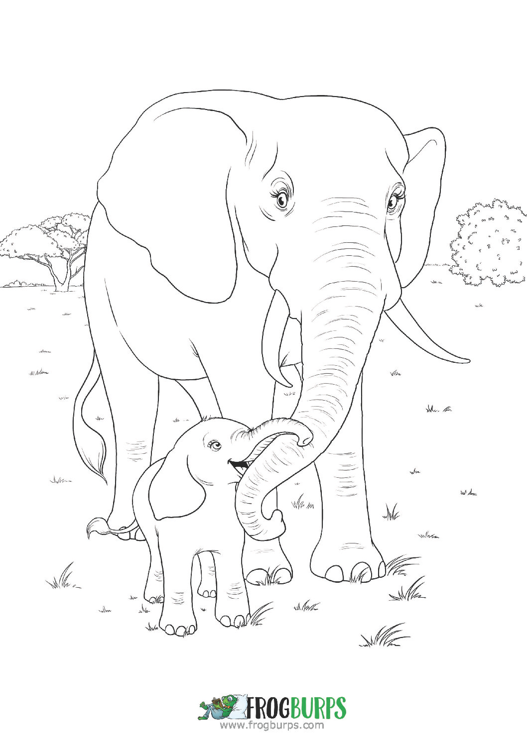 Elephants | Coloring Page