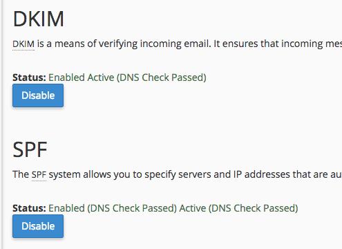 wordpress optimization cpanel dkim spf