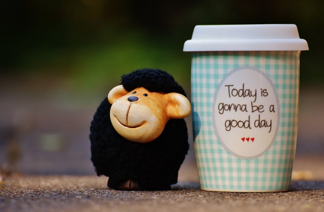 """A cute, dark-haired stuffed sheep smiling beside a coffe cup with the words, """"Today is gonna be a good day"""" written on it."""