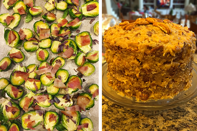Pre-roasted brussel sprouts topped with bacon and a multi-layer German chocolate cake.