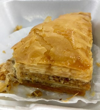 Close up of backlava pastry.
