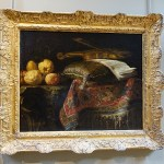 """Photograph of a still life painting of """"Lemons and Violin"""" by Franceso Fieravino."""