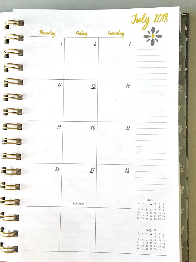 A monthly calendar view with lines in the margin.