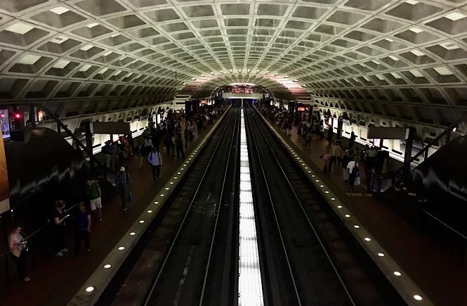 Photo of the Washington D.C. metro train tracks.