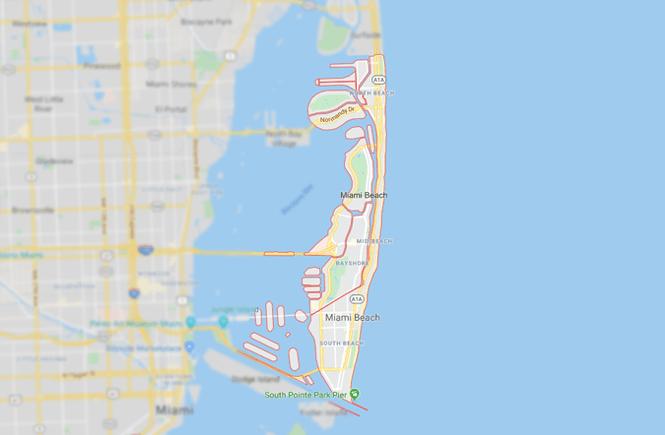 Map of Miami Beach.