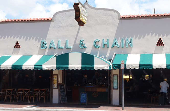 Photo of the Ball & Chain street-front in Little Havana Miami, Florida.