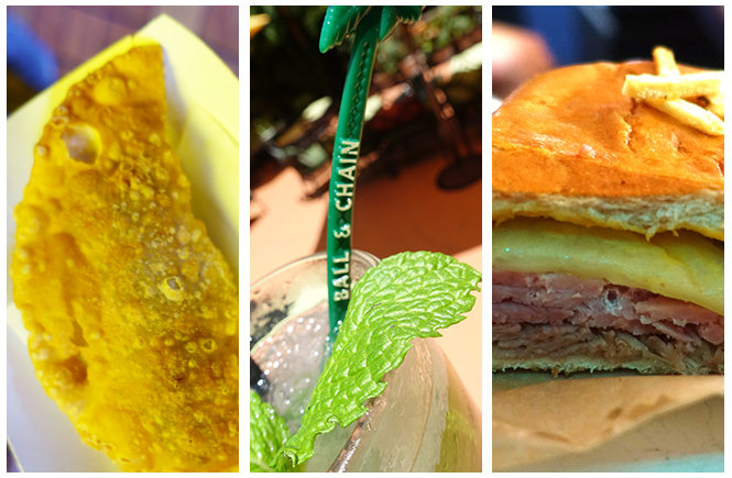 Three panel photo showing close-ups of an empanada, mojito with a straw from Ball & Chain, and a Cuban sandwich.
