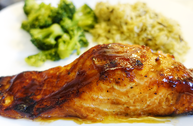 Photo of baked soy sauce salmon. Frolic & Courage.