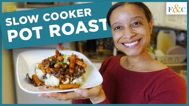 Step by Step Pot Roast Recipe youtube thumbnail. Frolic & Courage