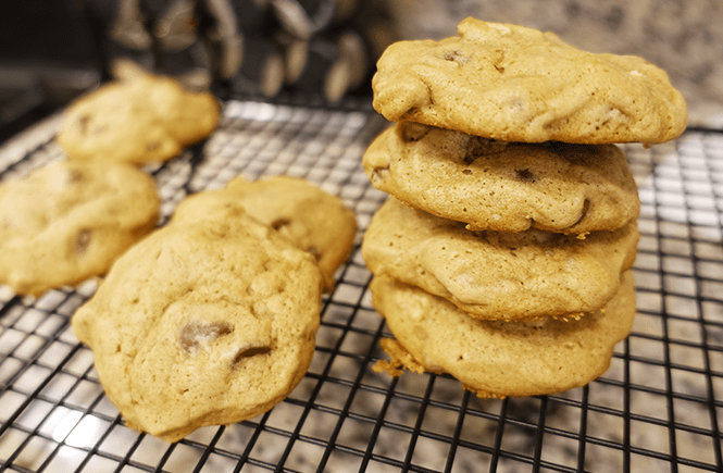 Photo of a stock of the best chocolate chip and walnut cookies by Frolic & Courage.