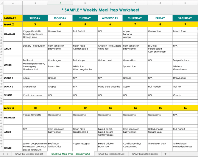 Screenshot of the meal planning calendar by Frolic & Courage.