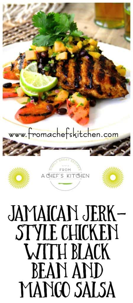 Up your grill game this summer with Jamaican Jerk-Style Chicken with Black Bean and Mango Salsa! @chefcarolb