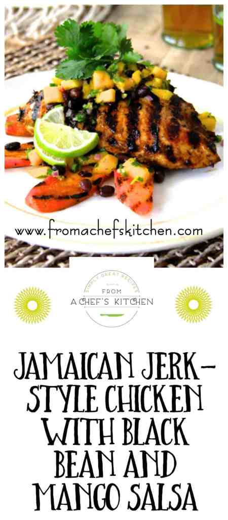 Jamaican Jerk Style Chicken with Black Bean and Mango Salsa