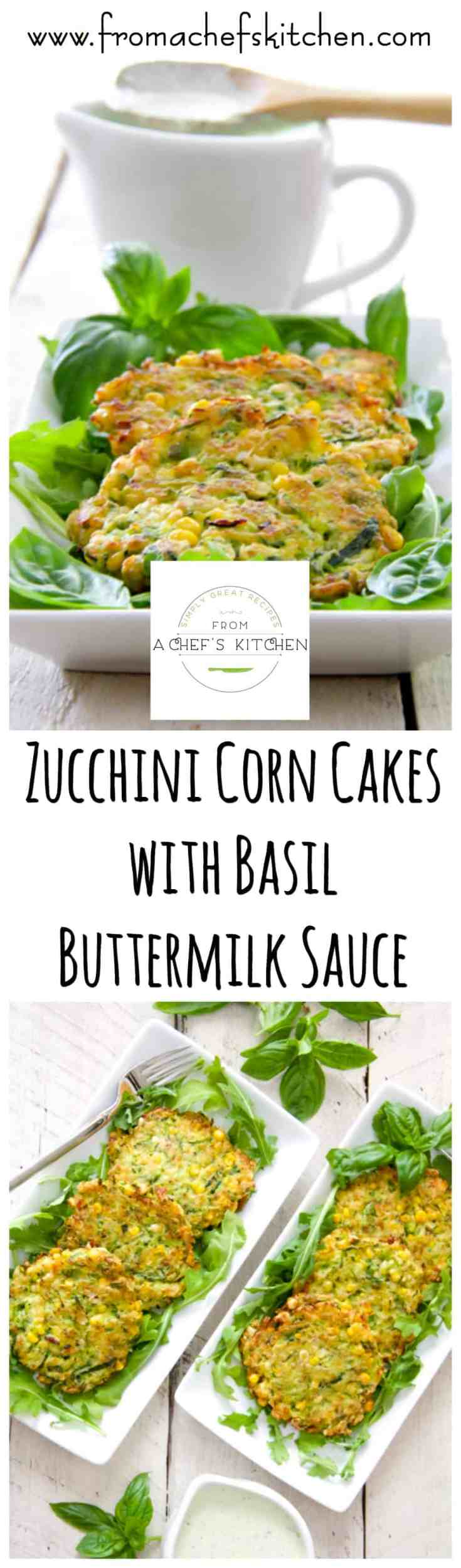 Zucchini Corn Cakes with Basil Buttermilk Sauce is a delicious way to use up an abundance of zucchini. Best of all, they're freezer-friendly! #zucchinirecipes #zucchinicakes #vegetable #vegetablerecipes #vegetarian #vegetarianrecipes