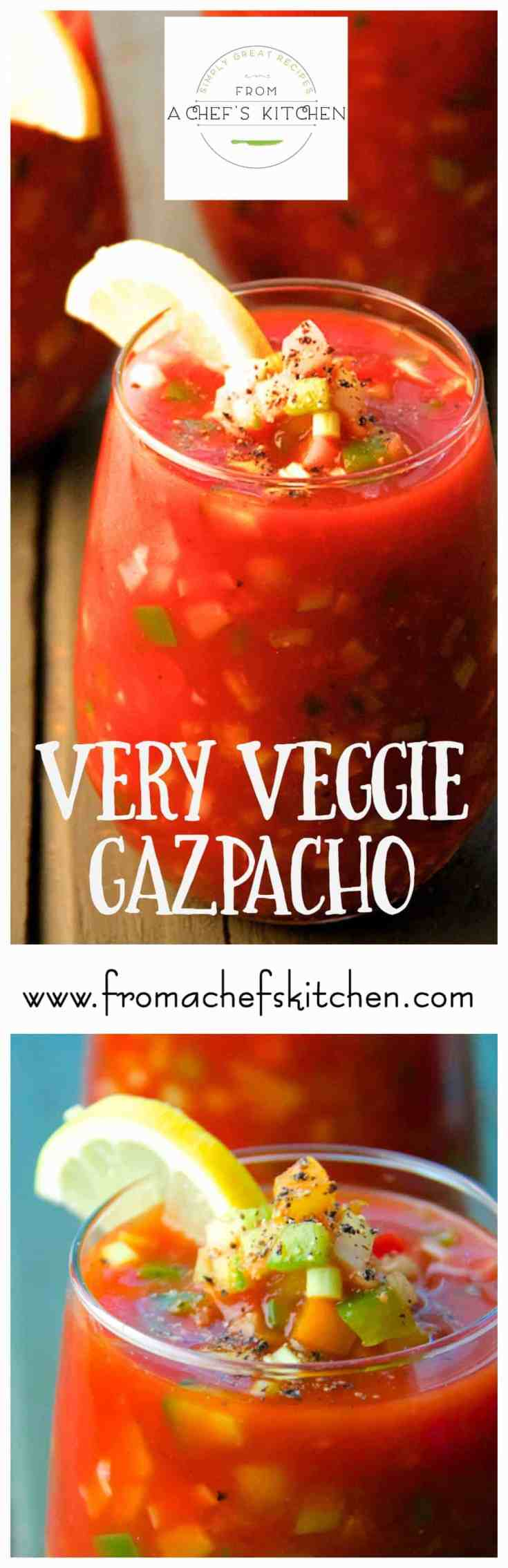 Very Veggie Gazpacho is a deliciously crunchy and chunky version of gazpacho, the classic cold Spanish soup. This version is as refreshing as it gets! Tomatoes, cucumbers, celery, bell peppers, jalapeño peppers, scallions, and plenty of garlic float in a tangy tomato juice base you'll crave all summer long! #gazpacho #vegetablegazpacho #coldsoup #chilledsoup