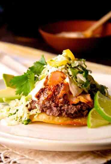 Salmon and Black Bean Tostadas with Cilantro - Lime Slaw and Chipotle Crema