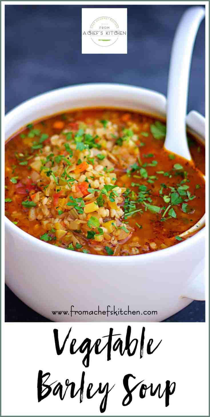 Vegetable Barley Soup is packed with vegetables and barley in a tomatoey broth that's both healthful and soul-satisfying! #vegetablesoup #barleysoup #vegetable #vegetarian #vegan
