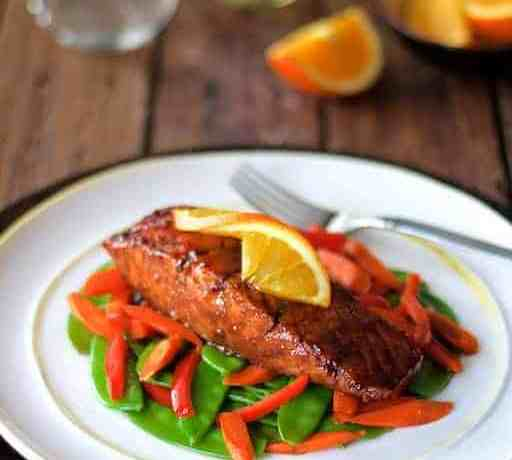 Pomegranate and Orange Glazed Salmon with Stir Fried Vegetables