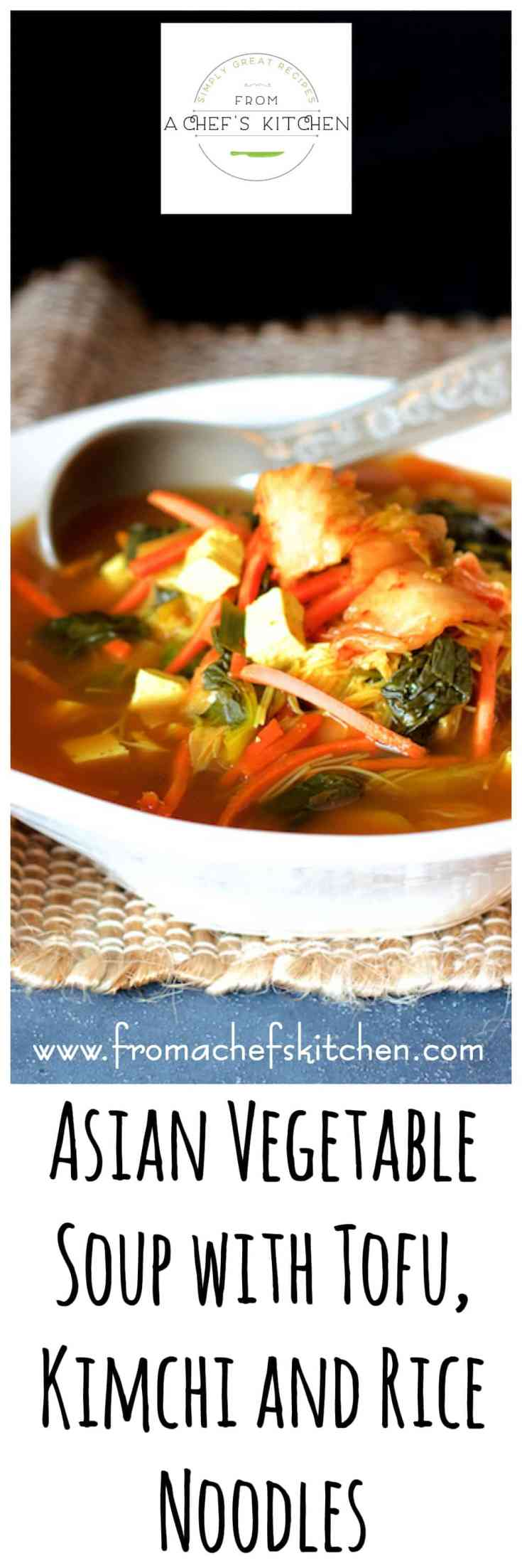 Asian Vegetable Soup with Tofu, Kimchi and Rice Noodles is spicy, packed with flavor and guaranteed to warm you from the inside out!  This vegan soup hits all the notes! #asian #asianrecipes #asianvegetablesoup #tofu #kimchi #ricenoodles #vegan