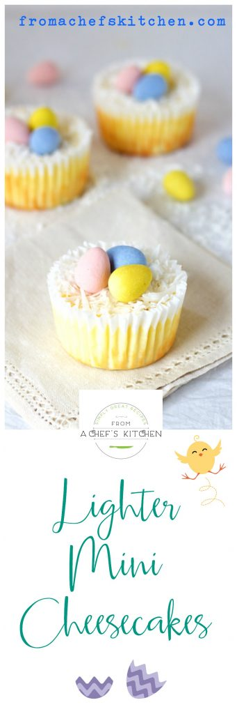 Lighter Mini Cheesecakes are the perfect portion sizes for a lighter, healthier Easter!