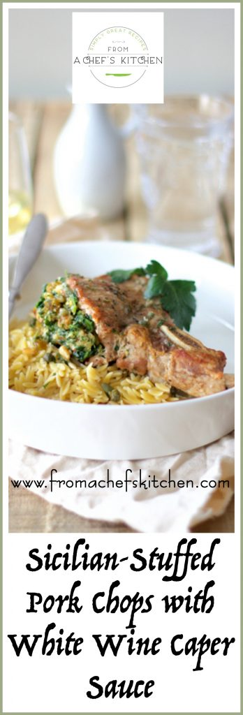 Sicilian Stuffed Pork Chops with White Wine Caper Sauce are an elegant way to dress up a dinnertime staple! Stuffed with spinach, pine nuts and cheese!