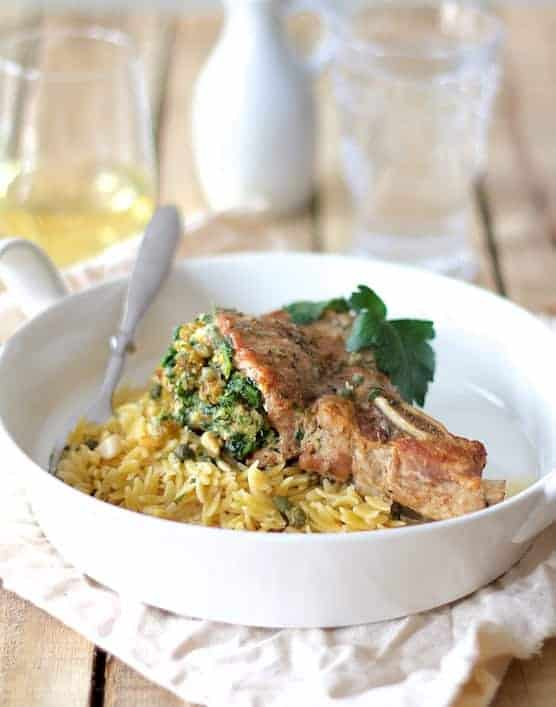 Sicilian Stuffed Pork Chops with White Wine and Caper Sauce