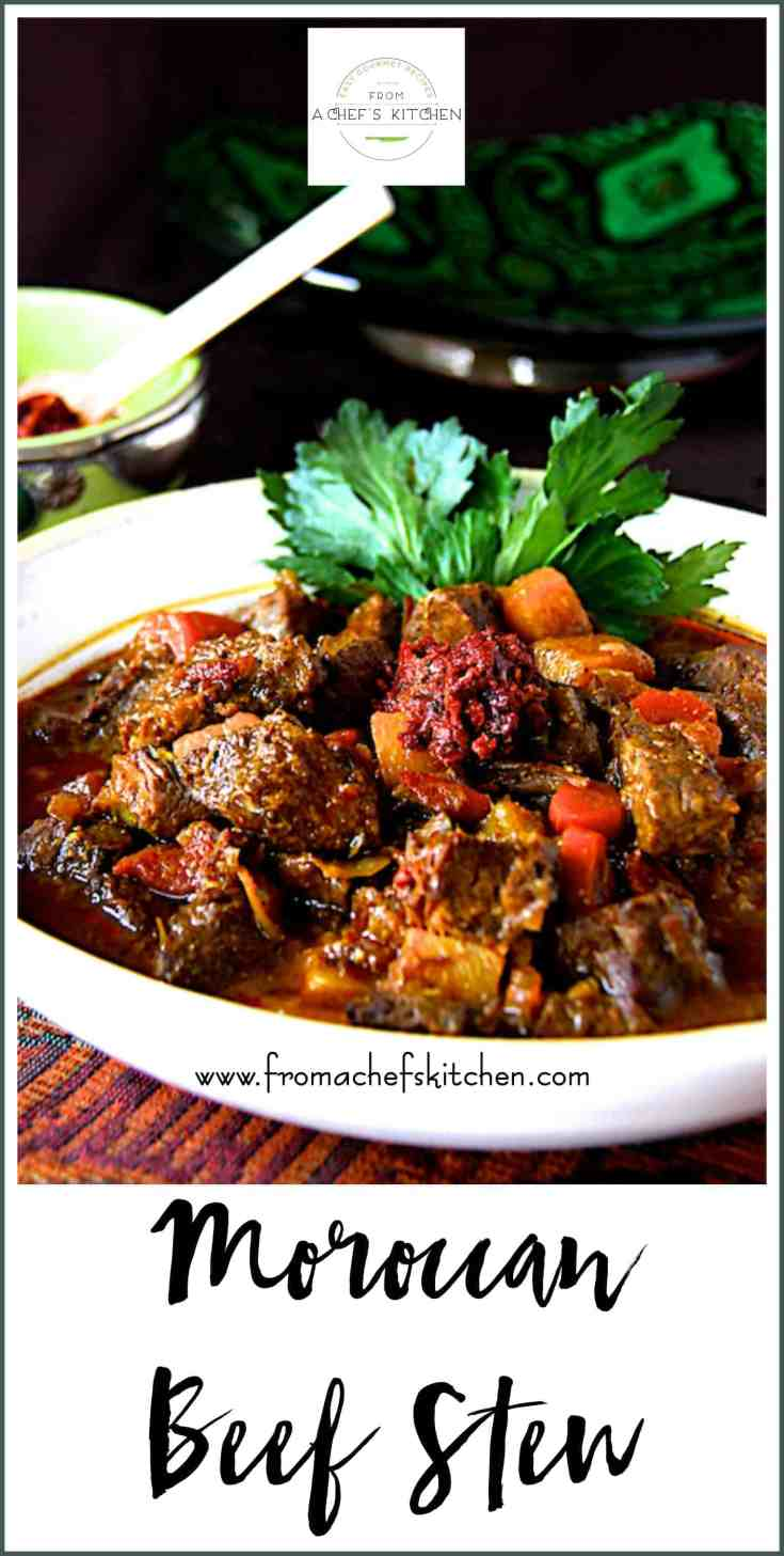 Moroccan Beef Stew is hearty, flavorful and perfect for a chilly night!  It's perfect slowly simmered on the stovetop, in the oven or pressure cooker. #moroccanfood #moroccan #beef #beefstew #meat #beefstewrecipes